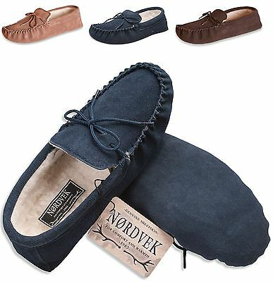 Nordvek Mens Genuine Suede Sheepskin Wool Moccasin Slippers Suede Sole 423-100
