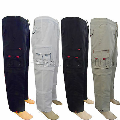 Mens 3 in 1 Elasticated Summer Trousers Original Cargo Combat lightweight Pants