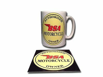 Bsa Owner Ceramic Mug Plus **free** Enamelled Finish Coaster,retro.
