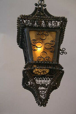 1920s Spanish Revival Iron Scroll Amber Glass Pendant Lamp Lantern Light (3735)