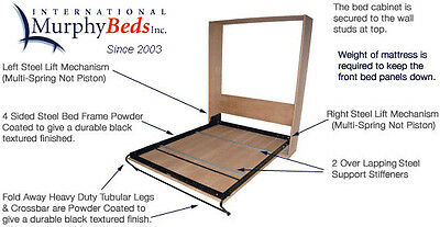 Murphy Wall Bed Hardware - Single Double & Queen- COMPLETE WITH Steel Bed Frame