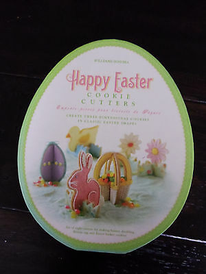 WILLIAMS SONOMA~HAPPY EASTER 8 3D COOKIE CUTTERS EGG CHICK BUNNY FLOWER~EUC