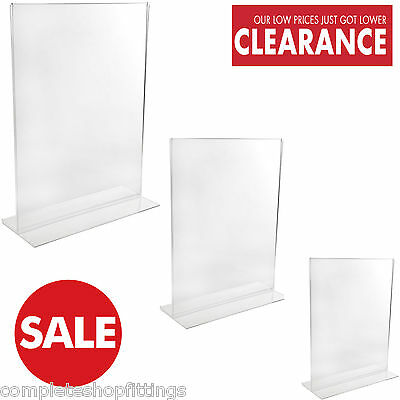 Double Sided Acrylic Poster Menu Holder Perspex Leaflet Display Stands A4 A5 A6