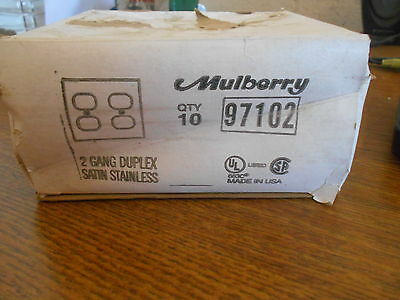 New Mulberry 2 Gang Duplex Satin Stainless Lot Of 8 97102