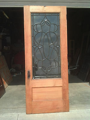3/4 view beveled glass gingerbread entrance door    (ED 5)