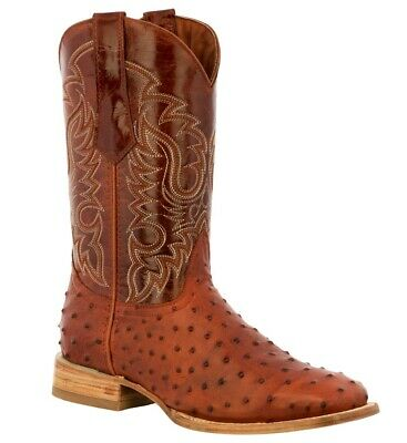 Men's boots ostrich quill cognac brown leather western cowboy work square toe TW