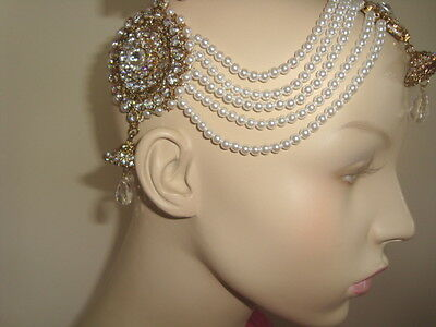 Wedding Silver Diamante,Bead Side Matha Patti  Head Piece Bollywood Jewellery62