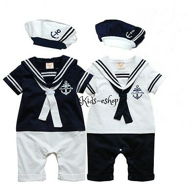 Baby Boy Sailor White Navy Romper with Hat Suit Grow Summer Outfit 0-18 M