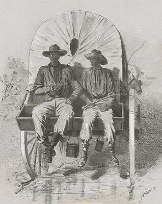 Civil War Campaign Sketch by Winslow Homer: Black Men Riding on Baggage Wagon
