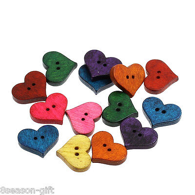 100PCs Wood Sewing Buttons Heart-shaped Scrapbooking Mixed 20mm x16.5mm