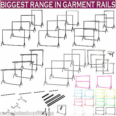HEAVY DUTY BLACK CLOTHES RAILS GARMENT HOME SHOP STORAGE DISPLAY 3ft 4ft 5ft 6ft