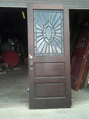 1/2 beveled glass entrance door etched center piece w hardware      (ED 9)