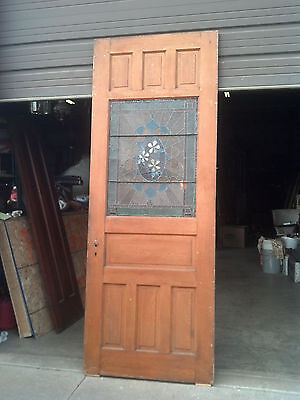 tall floral stained glas feature raised panel door    (ED 24)