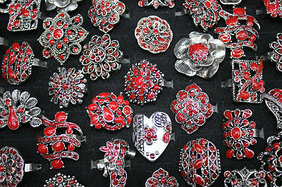 NEW design Wholesale Mixed Lots 20pcs red enamel alloy adjustable women's rings