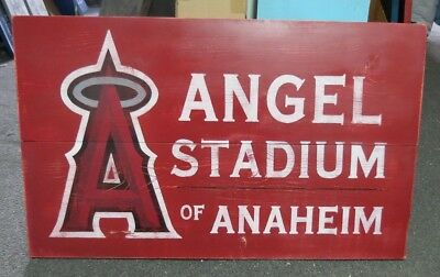 """Hand Painted Wooden Angel Stadium Of Anaheim Wooden Sign 36"""" X 24"""" Reproduction"""