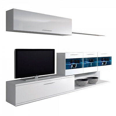 Mueble de comedor salon moderno con Leds, color Blanco Brillo, Vetro