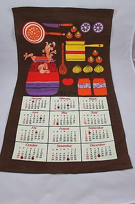 """1974 Cloth Calendar Great Colors Great Condition 16"""" x 27"""" EF"""
