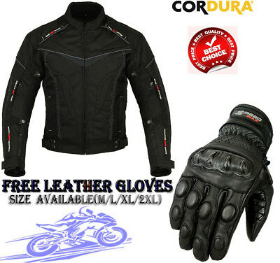 Black Hawk Mens Ce Cordura Motorbike Motorcycle Motocross Textile Jacket Gloves