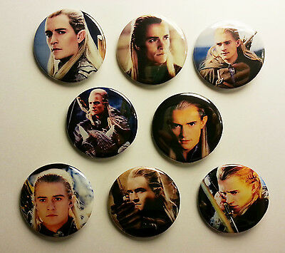 8 piece lot of Legolas Thranduilion The Hobbit/Lotr Orlando pins buttons badges