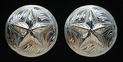 """2 - 2"""" Silver Hand Engraved Conchos w/ Star - Headstall Bridle Saddle"""