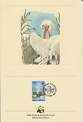(EO55) 1984 WWF (E) official proof card pelican &stamp