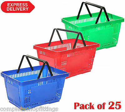 25x Brand New Shopping Basket 28 Liter Plastic Different Colors with 2 Handles