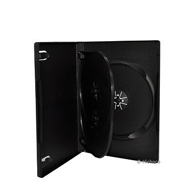 25 pk 14mm Multi Hold 3 Disc Triple CD DVD Black Case Movie Game Box Wholesale