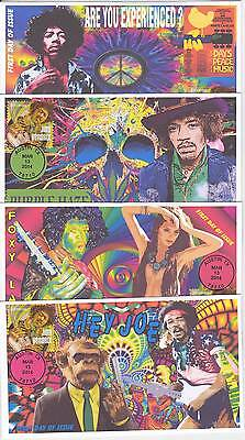 Jvc Cachets - Set Of 4 - 2014 Jimi Hendrix First Day Covers Fdc Topical Music