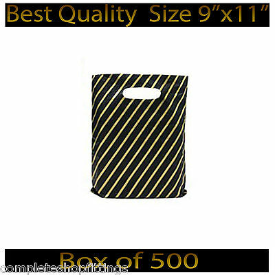 9''x11'' Black and Gold Striped Jewellery Fashion Gift Shop Plastic Carrier Bags