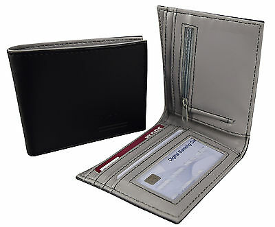 Mens Wallet Black Grey Magic Fold Money Clip Faux Leather ID Card Holder Gift