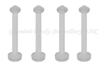 Pack of 5 Flexible acrylic Tongue bar retainers 14 Gauge (1.6mm x 15mm)