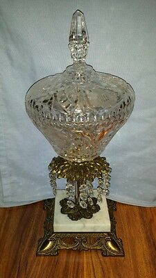 """Vintage 15"""" Etched Floral Flower Crystal Candy Dish on Marble Base made in Italy"""