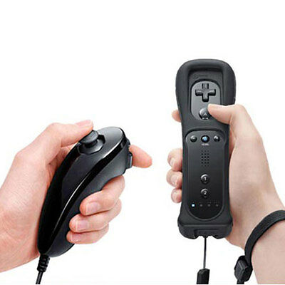 Black Remote and Nunchuck Controller Set for Nintendo Wii + Free Case Skin US