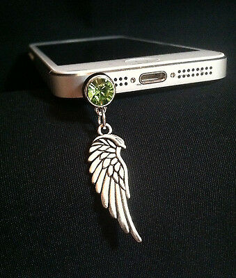 Wing Silver Charm Cell Phone anti Dust Plug iphone android crystal green bling