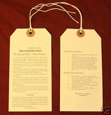 Maytag Engine model 92 & 72 Operating Directions Tag