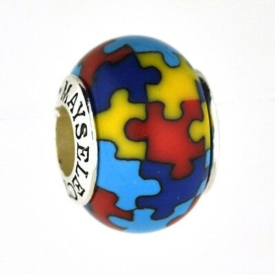 Autism Awareness Bead/Charm for Add-A-Bead Bracelets Clay & Sterling Silver