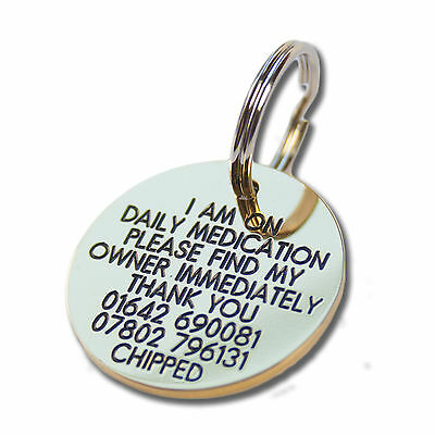 Pet Dog Cat ID Collar Tags - Deeply engraved for FREE, 33mm Brass Disc. QUALITY