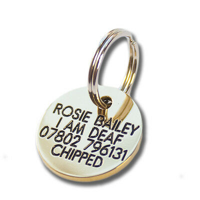 Deeply engraved solid brass dog tag, 21mm disc. Up to 4 lines on each side