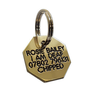 Deeply engraved solid brass dog tag, octagonal shaped 20mm