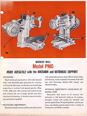 Barker Mill Model PMO Milling Machine Catalog