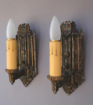 Antique Pair 1920s Crest Motif Wall Sconce Light Lamp Spanish Revival (3581)