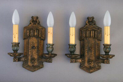 Pair 1920s Wall Double Sconces Light Lamp Spanish Revival Home 10X8 (4691)