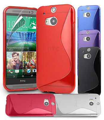 S Line Wave Gel Case Cover For Htc One M8 Screen Protector