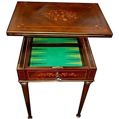 French Inlaid Side/Game Table, Antique #1142