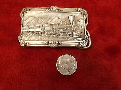 Old Vtg Pewter Siskiyou Locomotive Or Train 3-D Belt Buckle, Beautiful, Vg Cond