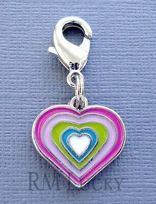 HEART LOVE Clip On Charm with Lobster Clasp for Link Chain floating locket C143