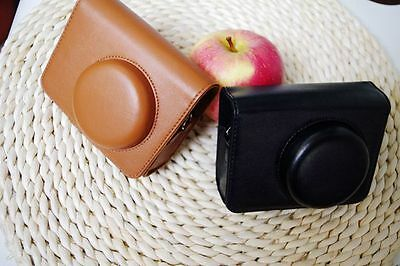 brown leather case bag for Canon PowerShot SX170 IS SX160 SX150 SX130 camera SIM
