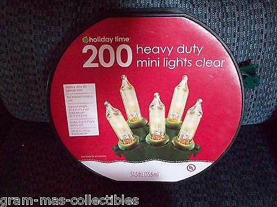 200 Mini Heavy Duty Lights Set Clear 20 Guage Wire Lighted Length 51.5 Ft