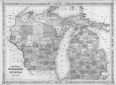 1864 WI MAP MARINETTE MARQUETTE MENOMINEE MILWAUKEE MONROE OCONTO COUNTY History