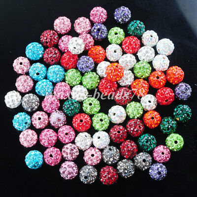 Crystal Rhinestones Pave Clay Round Disco Ball Spacer Beads 10 MM MBA029